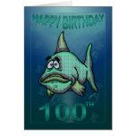 Happy Birthday Ages Grumpy Fish 100th Birthday Greeting Card