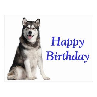 Happy Birthday Alaskan Malamute Puppy Dog  Card