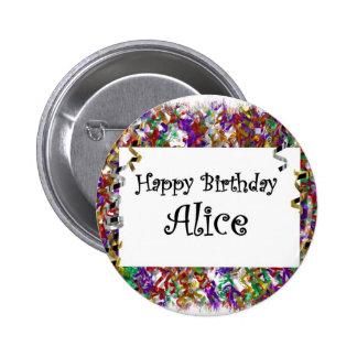 Happy Birthday Alice Button