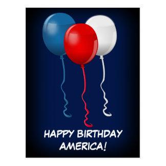 Happy Birthday America (Balloons) Postcard