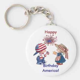 Happy Birthday America Basic Round Button Keychain