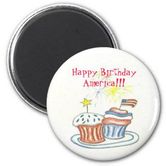Happy Birthday America Button 2 Inch Round Magnet