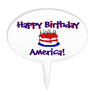 Happy Birthday America Cake Topper Cake Pick
