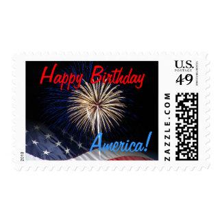 Happy Birthday America Fireworks Postage Stamps