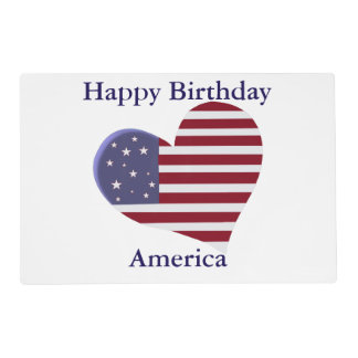 Happy Birthday America, Fourth of July Patriotic Placemat