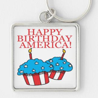 Happy Birthday America Keychain