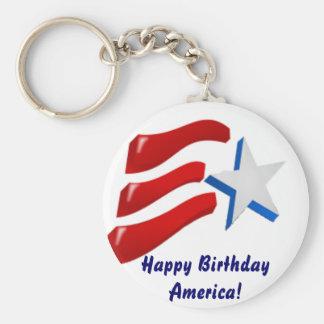 Happy Birthday America! Keychain