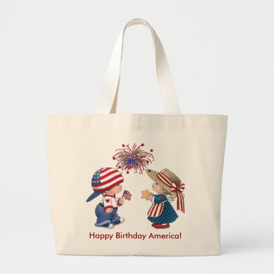 Happy Birthday America Large Tote Bag