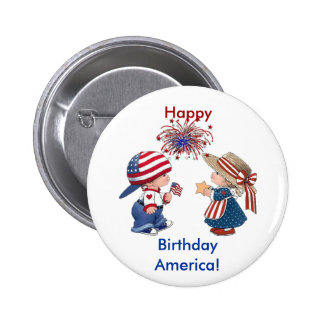 Happy Birthday America Pinback Buttons