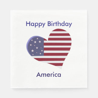 Happy Birthday America, Red White and Blue Heart Napkin