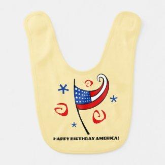 Happy Birthday America (Stars & Swirls) Baby Bibs