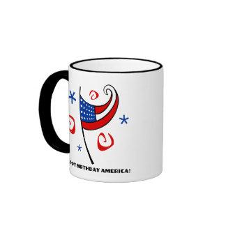 Happy Birthday America (Stars & Swirls) Mugs