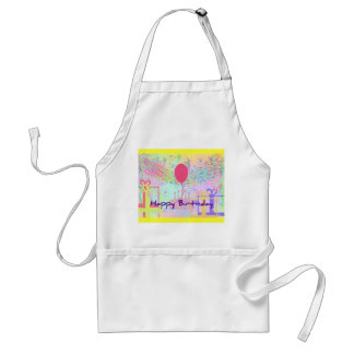 Happy Birthday and Best Wishes One Ballon Adult Apron