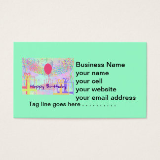 Happy Birthday and Best Wishes One Ballon Business Card