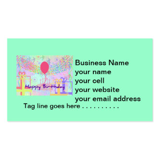 Happy Birthday and Best Wishes One Ballon Business Card Templates