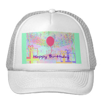 Happy Birthday and Best Wishes One Ballon Trucker Hat