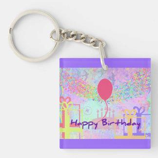 Happy Birthday and Best Wishes One Ballon Acrylic Keychain
