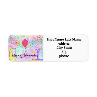 Happy Birthday and Best Wishes One Ballon Custom Return Address Label
