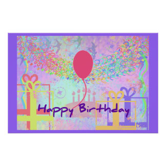 Happy Birthday and Best Wishes One Ballon Print