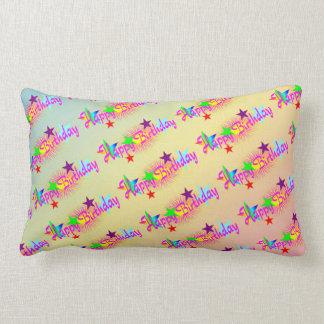 Happy Birthday and Stars - Throw Pillow