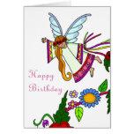 Happy Birthday Angel Ukrainian Folk Art Greeting Card