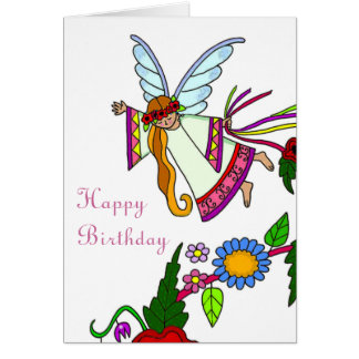Happy Birthday Angel Ukrainian Folk Art Card