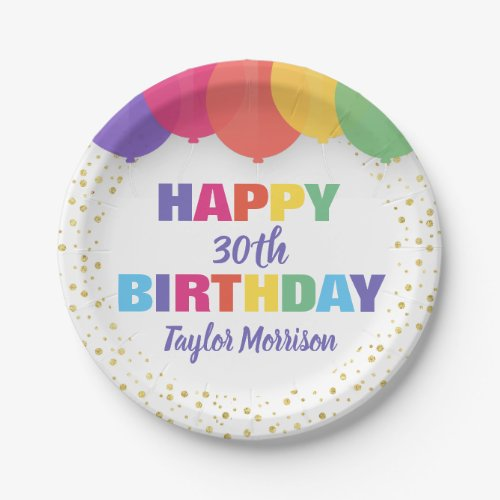 Happy Birthday Any Age Name Colorful Balloons Paper Plate