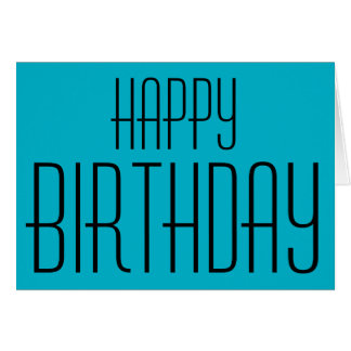 Happy Birthday, aqua blue, Stationery Note Card