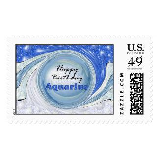 Happy Birthday Aquarius Postage Stamp