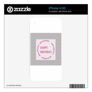 Happy Birthday art on Crystal Stone Tile iPhone 4 Skin