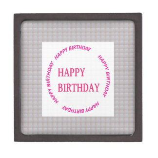 Happy Birthday art on Crystal Stone Tile Jewelry Box