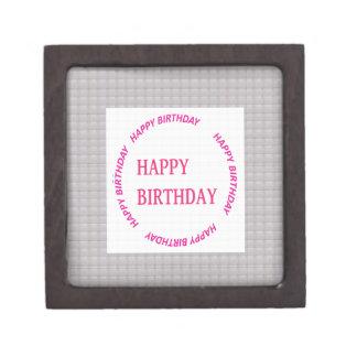 Happy Birthday art on Crystal Stone Tile Keepsake Box