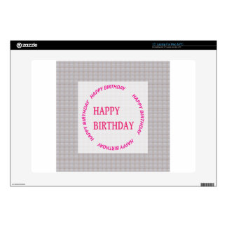 Happy Birthday art on Crystal Stone Tile Laptop Decal