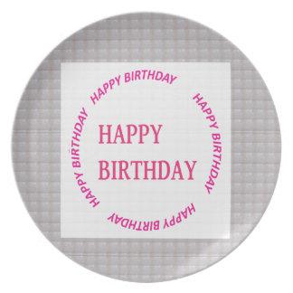 Happy Birthday art on Crystal Stone Tile Melamine Plate