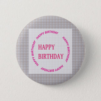 Happy Birthday art on Crystal Stone Tile Pinback Button