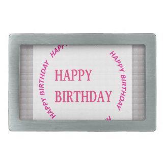 Happy Birthday art on Crystal Stone Tile Rectangular Belt Buckle