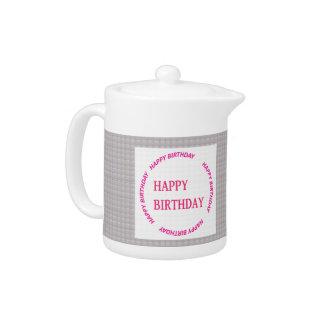 Happy Birthday art on Crystal Stone Tile Teapot