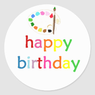 Happy Birthday Art/Paint Party Bella Bella Studios Classic Round Sticker