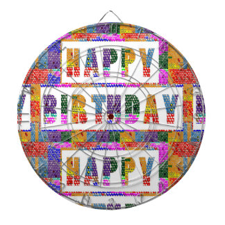 HAPPY BIRTHDAY : Artist Created Font n Color Dartboards