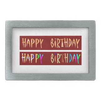 HAPPY BIRTHDAY Artistic Script Text Belt Buckles