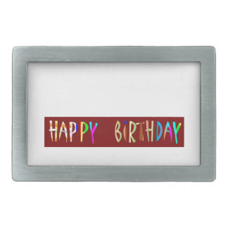 HAPPY BIRTHDAY Artistic Script Text Rectangular Belt Buckle