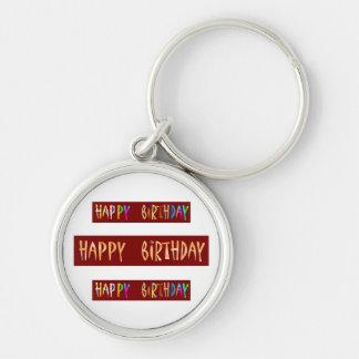HAPPY BIRTHDAY Artistic Script Text Keychain