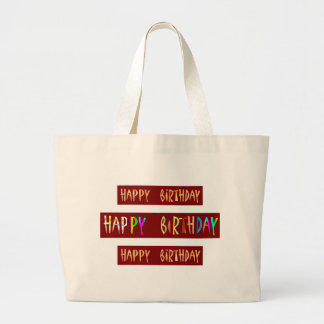 HAPPY BIRTHDAY Artistic Script Text Large Tote Bag
