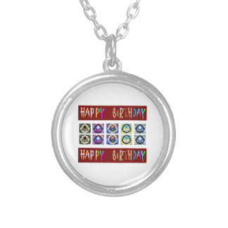 HAPPY BIRTHDAY Artistic Script Text Round Pendant Necklace