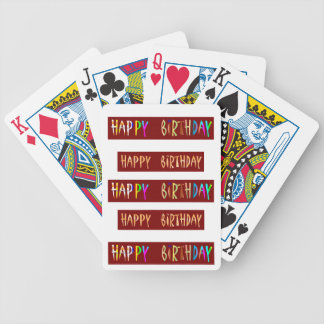 HAPPY BIRTHDAY Artistic Script Text Bicycle Playing Cards
