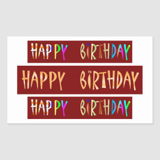HAPPY BIRTHDAY Artistic Script Text Rectangular Sticker