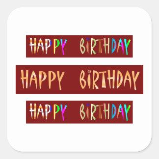 HAPPY BIRTHDAY Artistic Script Text Square Sticker