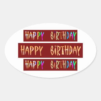 HAPPY BIRTHDAY Artistic Script Text Oval Stickers