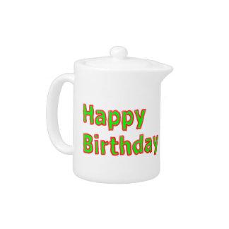 Happy Birthday -  Artistic Text Script Teapot