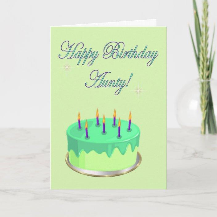Groovy Happy Birthday Aunty Birthday Cake Wishes Card Zazzle Com Personalised Birthday Cards Arneslily Jamesorg